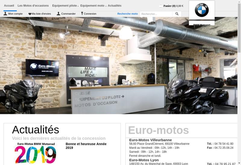 Capture d'écran du site de Euro Motos