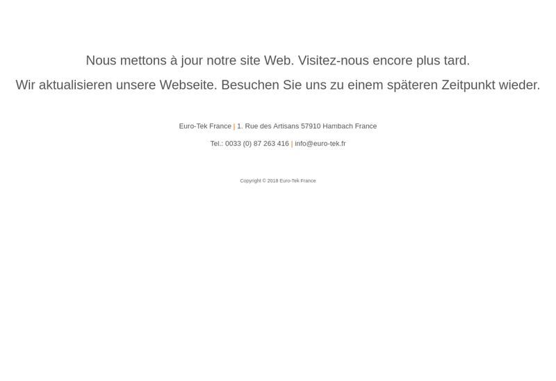 Capture d'écran du site de Euro Tek France