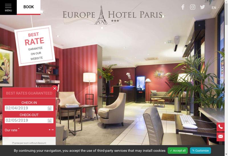Capture d'écran du site de Europe Hotel