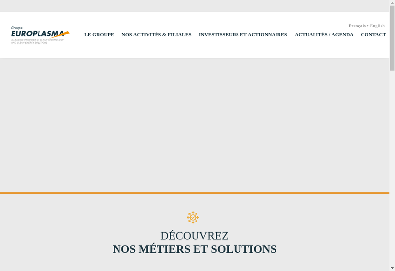 Capture d'écran du site de Europlasma
