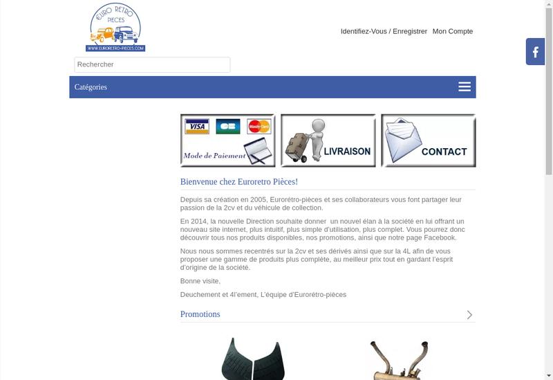 Capture d'écran du site de Euroretro Pieces