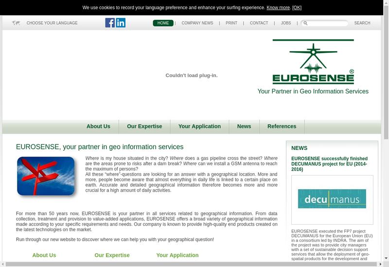 Capture d'écran du site de Eurosense