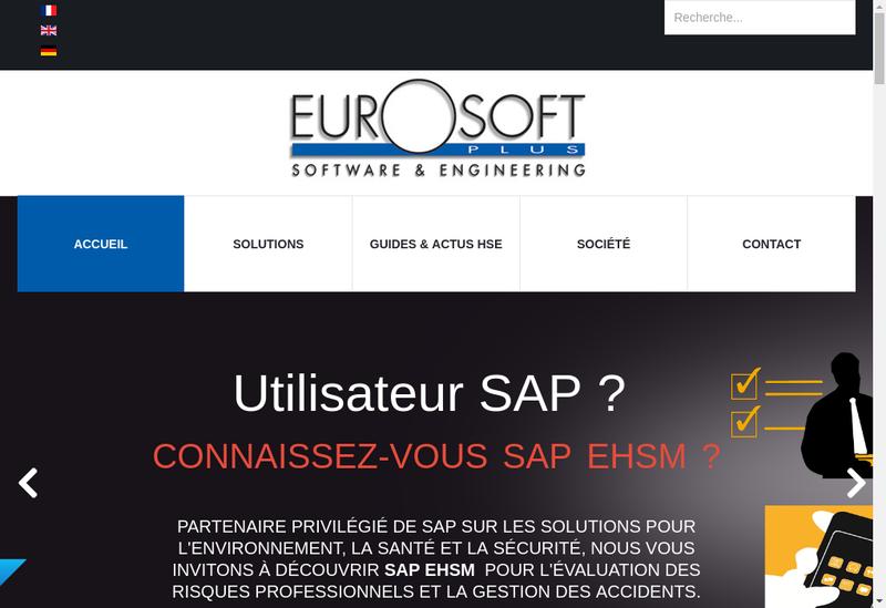 Capture d'écran du site de Eurosoft Plus