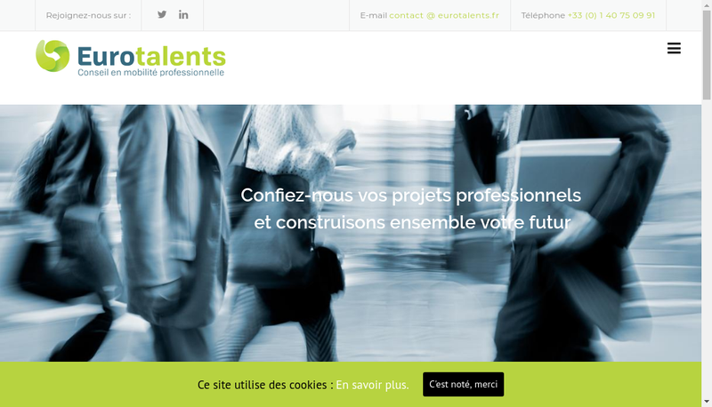 Capture d'écran du site de Eurotalents