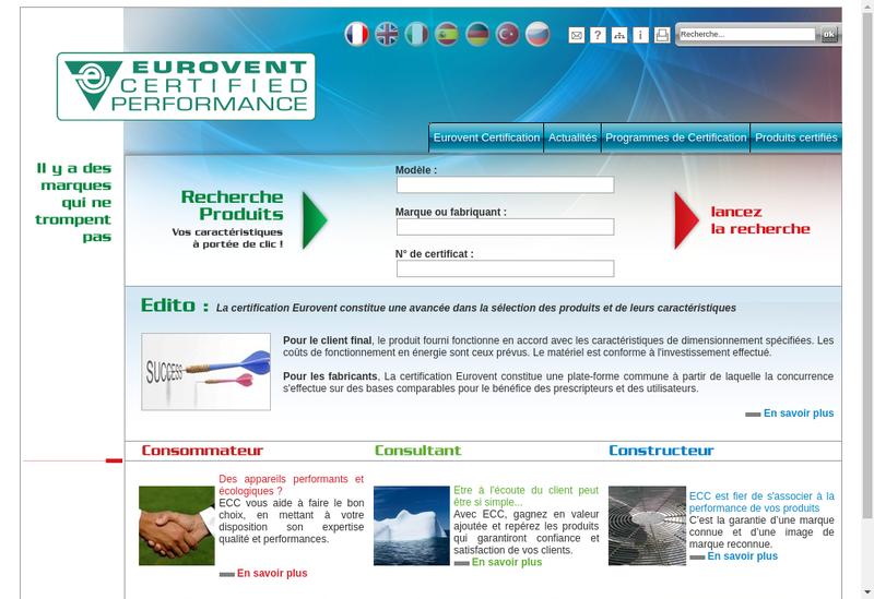 Capture d'écran du site de Eurovent Certita Certification