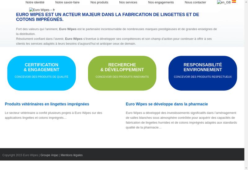 Capture d'écran du site de Euro Wipes