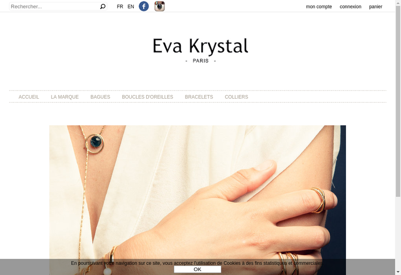 Capture d'écran du site de Eva Krystal