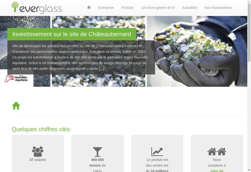 Capture d'écran du site de Everglass