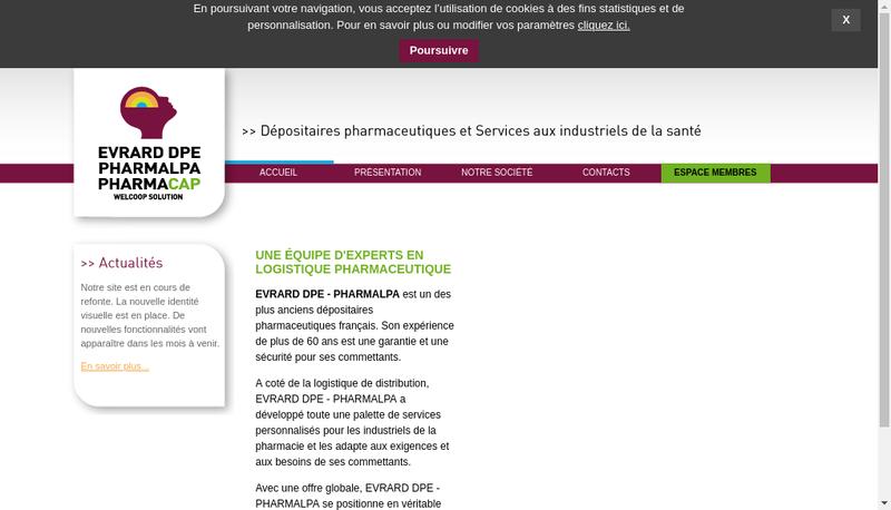 Capture d'écran du site de Pharmacap - Distripro