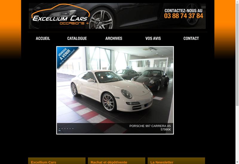 Capture d'écran du site de Excellium Cars