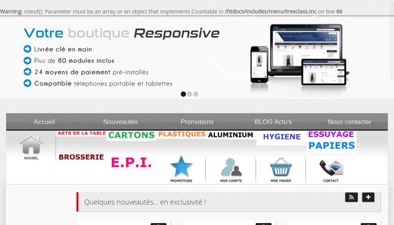 Capture d'écran du site de Exepack
