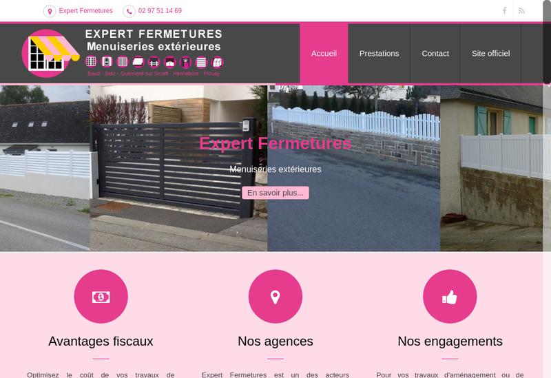Capture d'écran du site de Expert Fermetures