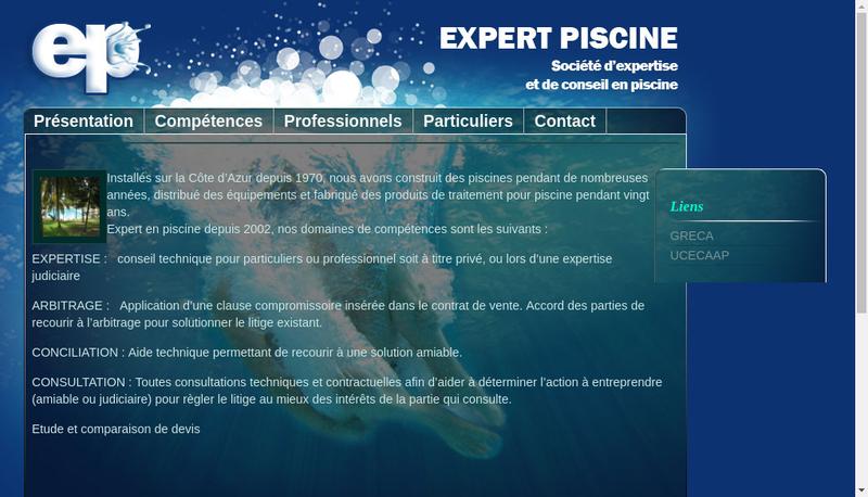 Capture d'écran du site de Expert Piscine