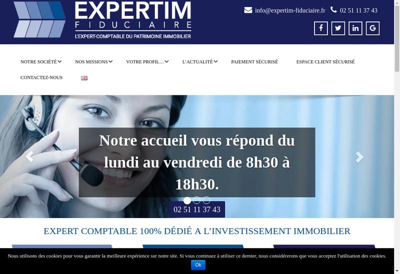 Capture d'écran du site de Expertim Fiduciaire