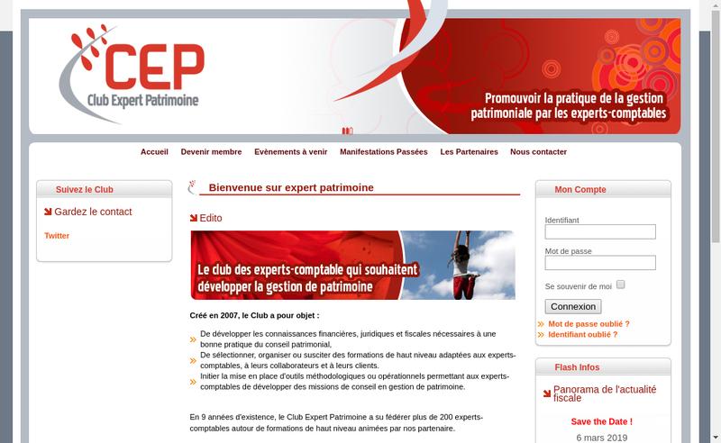 Capture d'écran du site de Club Expert Patrimoine