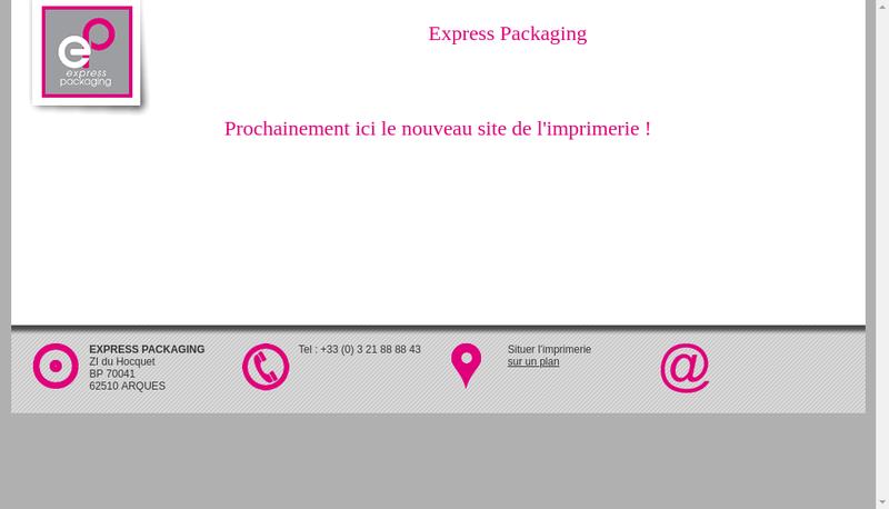 Capture d'écran du site de Express Packaging
