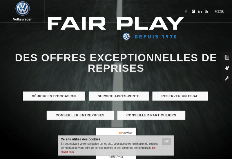 Capture d'écran du site de Fair Play Trocadero