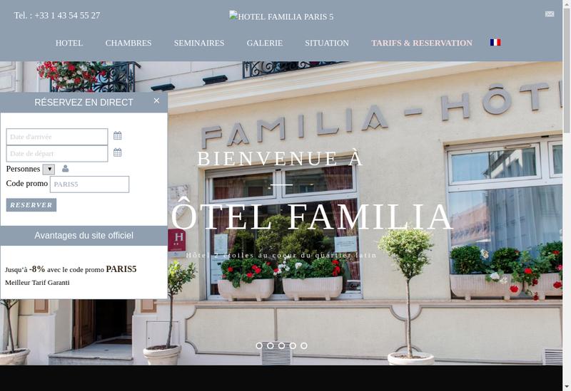 Capture d'écran du site de Familia Hotel