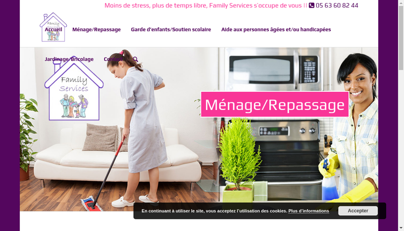 Capture d'écran du site de Family Services