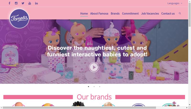 Capture d'écran du site de Famosa France SARL