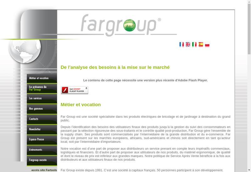 Capture d'écran du site de Far Group Europe