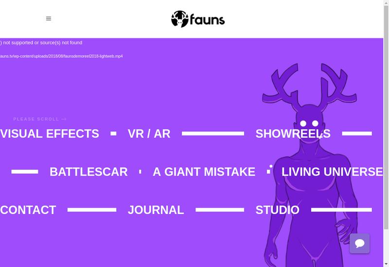 Capture d'écran du site de Fauns