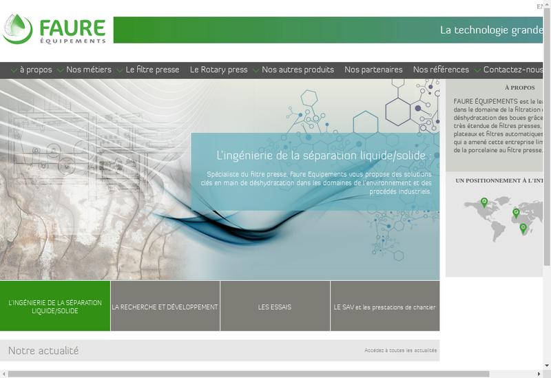 Capture d'écran du site de Faure Equipements