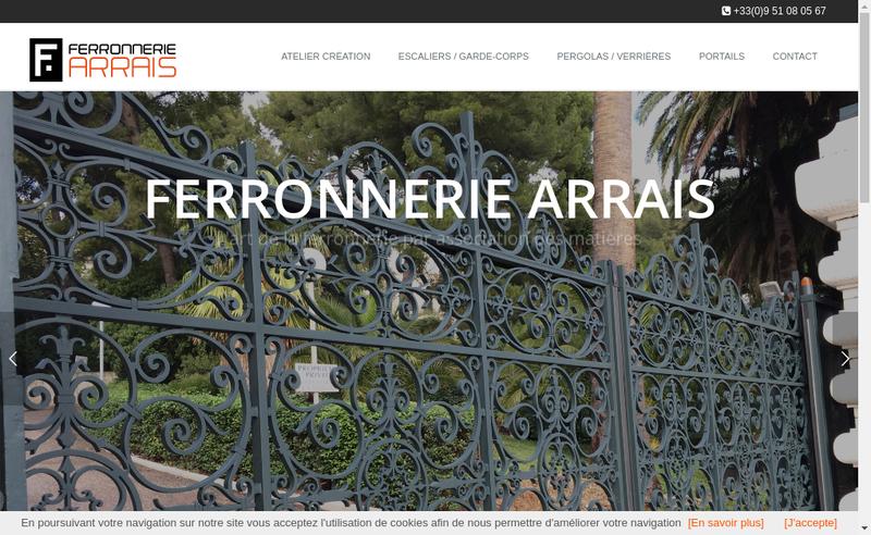 Capture d'écran du site de Ferronnerie Arrais
