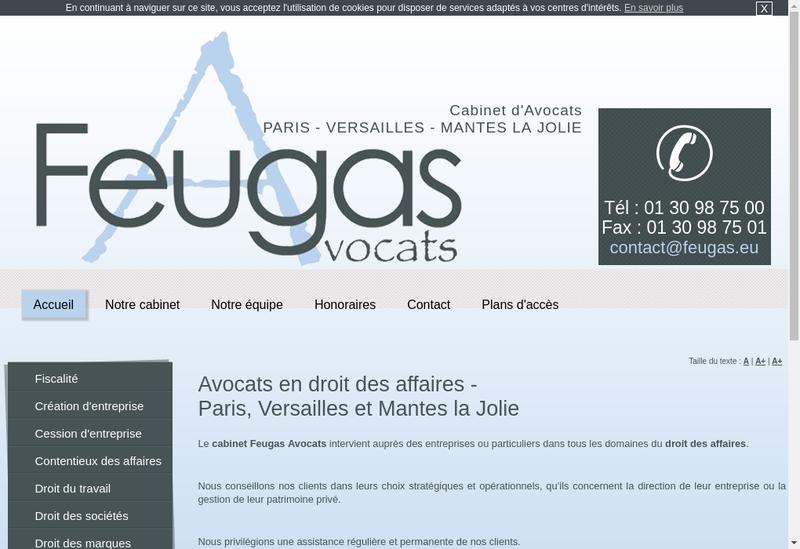 Capture d'écran du site de Feugas Avocats