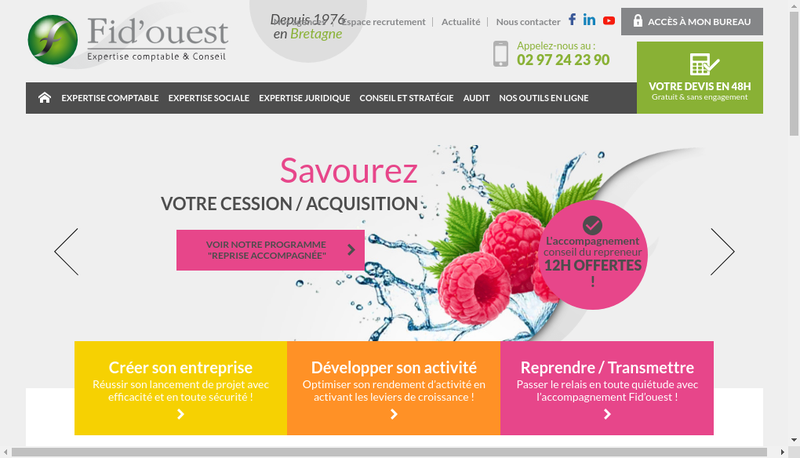 Capture d'écran du site de Fid'Ouest