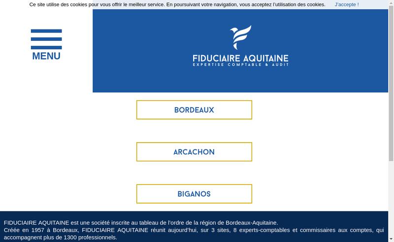 Capture d'écran du site de Fiduciaire Aquitaine