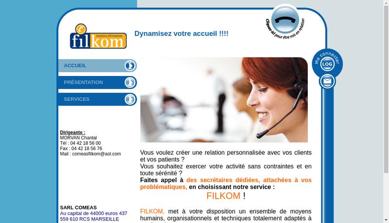 Capture d'écran du site de Comeas