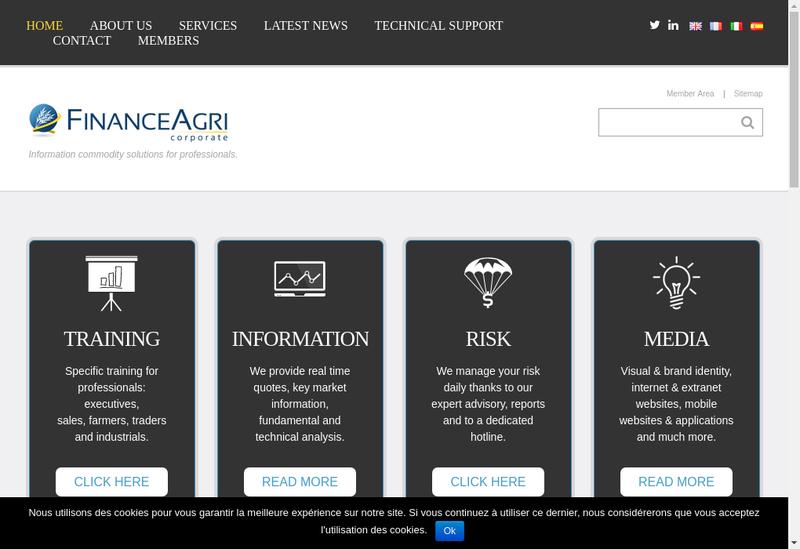 Capture d'écran du site de Financeagri