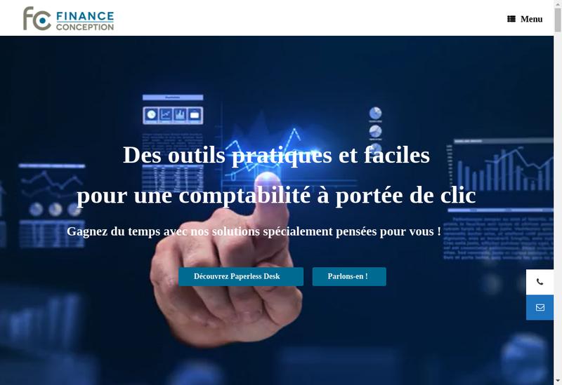 Capture d'écran du site de Finance Conception