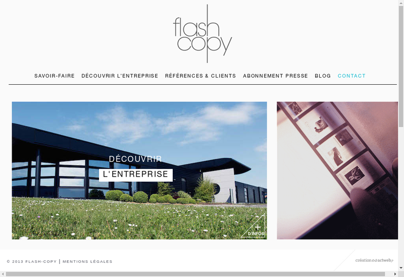 Capture d'écran du site de Flash Copy