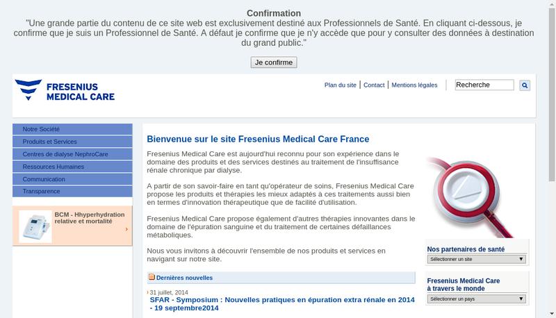 Capture d'écran du site de Fresenius Medical Care France