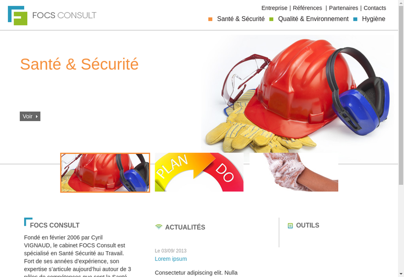 Capture d'écran du site de Focs Consult