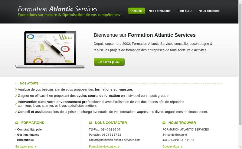 Capture d'écran du site de Formation Atlantic Services