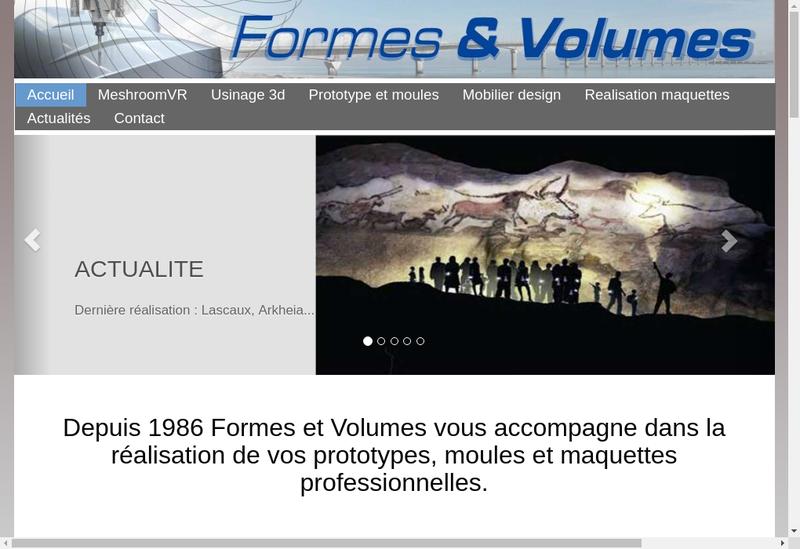 Capture d'écran du site de Formes et Volumes