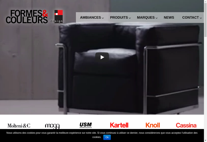 Capture d'écran du site de Mobilier International