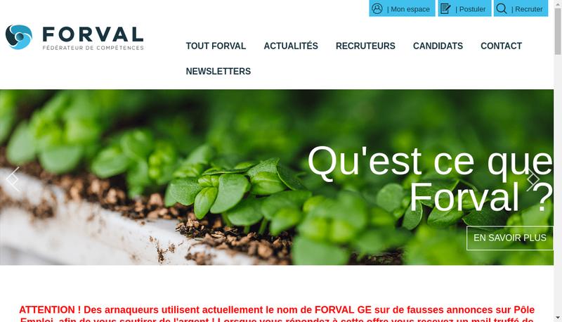 Capture d'écran du site de Groupement Local d'Employeurs Forval