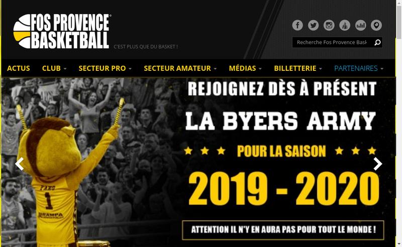 Capture d'écran du site de Fos Provence Basket
