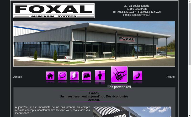 Capture d'écran du site de Foxal