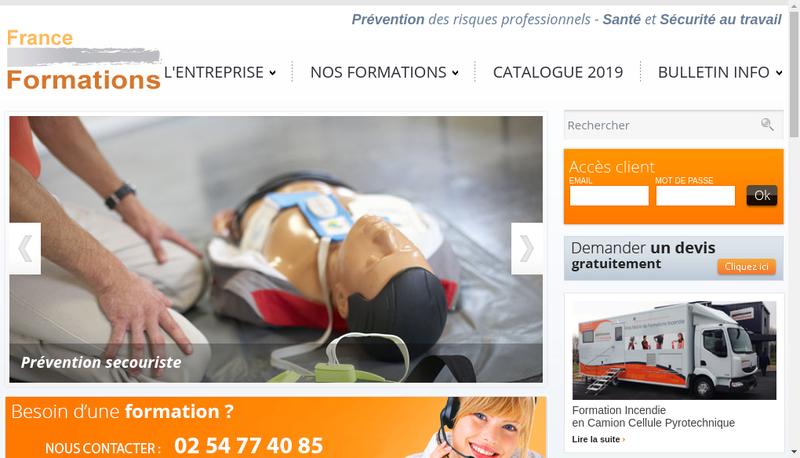 Capture d'écran du site de France Formations