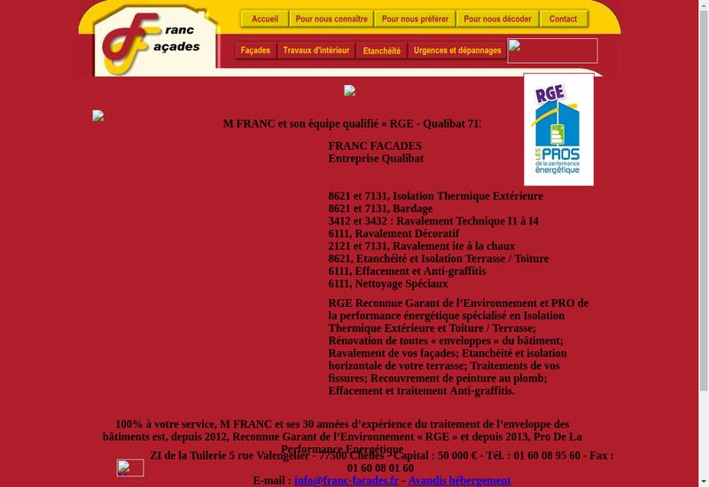 Capture d'écran du site de Franc Facades