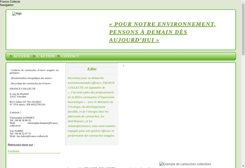 Capture d'écran du site de France Cartouches