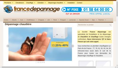 Capture d'écran du site de France Depannage Services