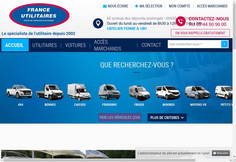 Capture d'écran du site de France Utilitaires