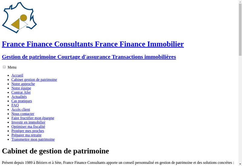 Capture d'écran du site de France Finance Consultants