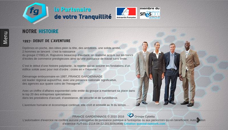 Capture d'écran du site de France Gardiennage